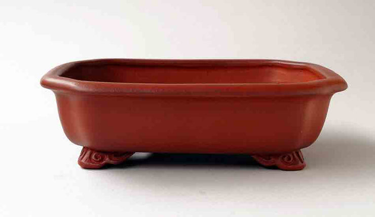 "IKKO Unglazed Bonsai Pot with Astragal in Shudei (vermilion Clay) 8""(20.4cm)"