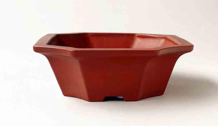"Ikko Unglazed Bonsai Pot in shudei (vermilion clay) 7.3""(18.6cm)"