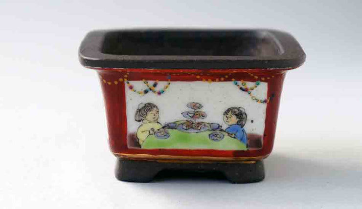 Ikko Square Bonsai Pot with the Painting of Children +++Shipping Free