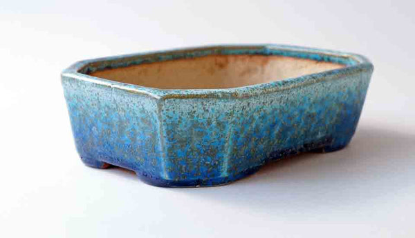Juko Blue Oribe Rectangle Bonsai Pot