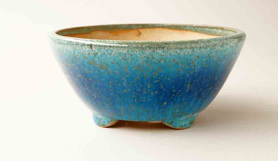 Juko Round Bonsai Pot in Blue Oribe