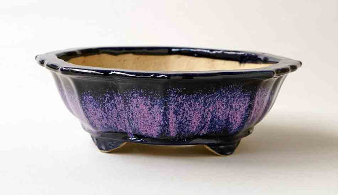 Juko Purple & Pink Octagonal Bonsai Pot with Rim