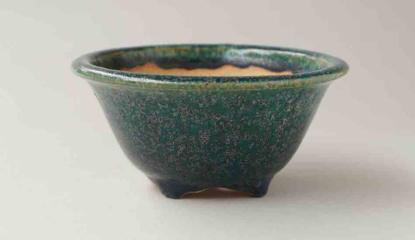 Old Feel! Oribe Round Bonsai Pot with Patina by Juko