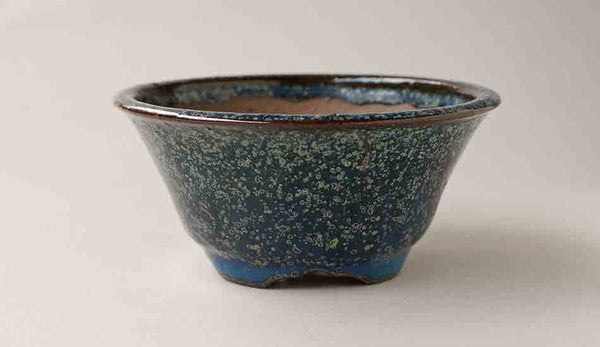 Beautiful Patina! Deep Blue Round Bonsai Pot by Juko