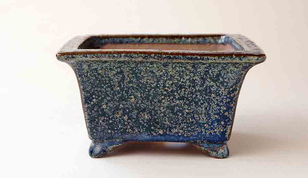 Juko Square Bonsai Pot in Oribe Glaze with Patina