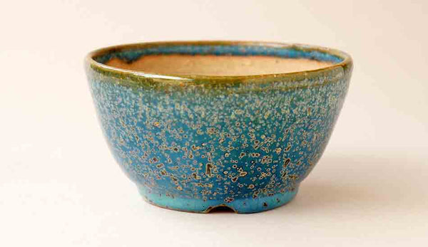 Juko Round Bonsai Pot in Blue Oribe Glaze 11.0cm(4.3