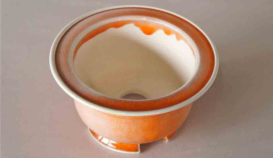 Orange Round Bonsai Pot with Rim by Juko