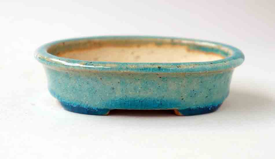 Sky Blue Oval Bonsai Pot by Juko