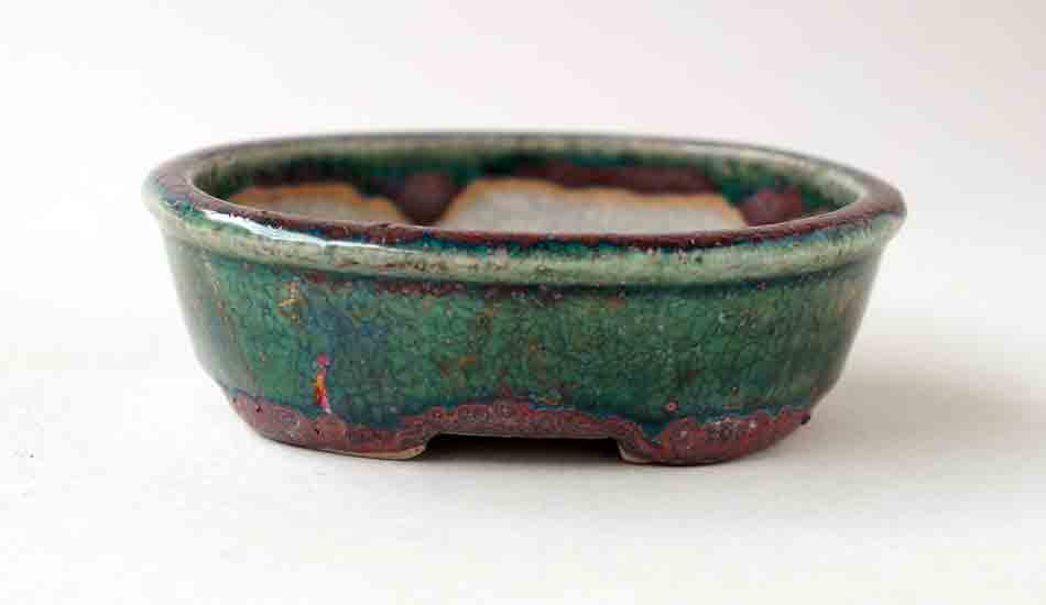 Green & Purple Oval Bonsai Pot by Juko