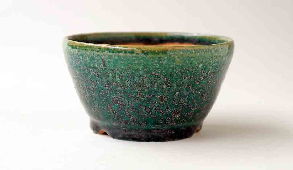 "Juko Round Bonsai Pot in Oribe Glaze 3.7""(9.5cm)"