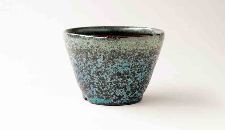 Juko Dark Blue Oribe Bonsai Pot with Patina +++Shipping Free