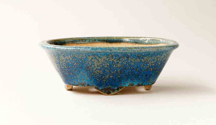 Juko Oval Bonsai Pot in Blue Oribe Glaze +++Shipping Free