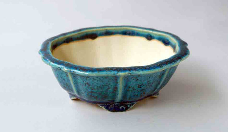 Juko Lotus Shaped Bonsai Pot in Blue Oribe Glaze