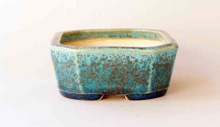 "Juko Blue Oribe Rectangle Bonsai Pot+++Shipping Free 5.8""(14.8cm)"