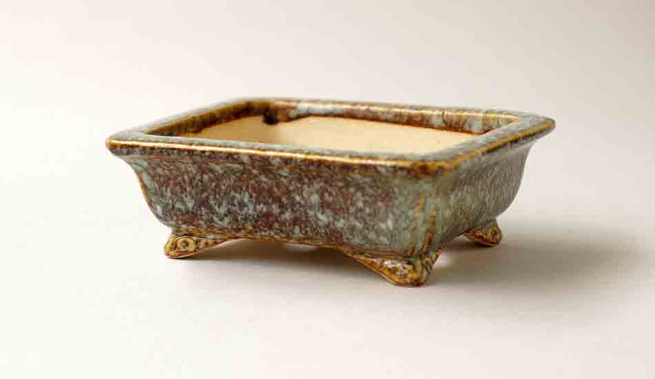 Koyo Rectangle Bonsai Pot in Namako Glaze