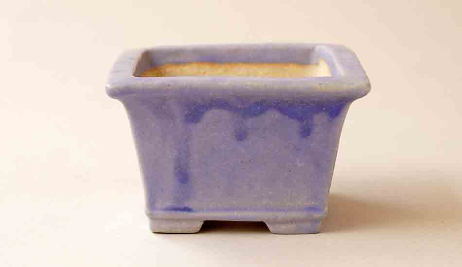 Koyo Purple Bonsai Pot with Running Glaze