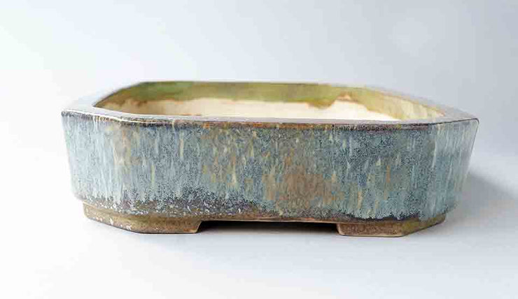 "Koyo White Over Rectangle Bonsai Pot with Relief 13""(33cm)+++Shipping Free!"
