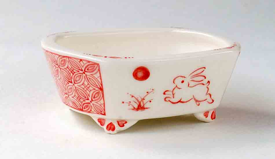 Rectangle Bonsai Pot with Hopping Bunny by Mayu ++++ Shipping Free