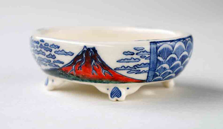 Oval Bonsai Pot with Red Mt. Fuji by Mayu ++++ Shipping Free