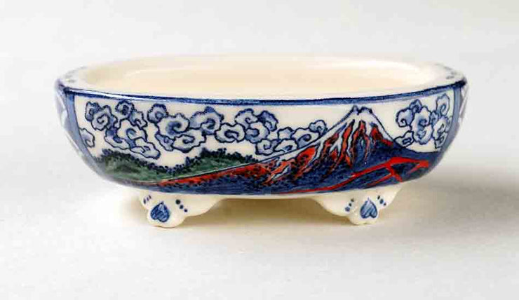 Oval Bonsai Pot with Blue Mt. Fuji by Mayu ++++ Shipping Free