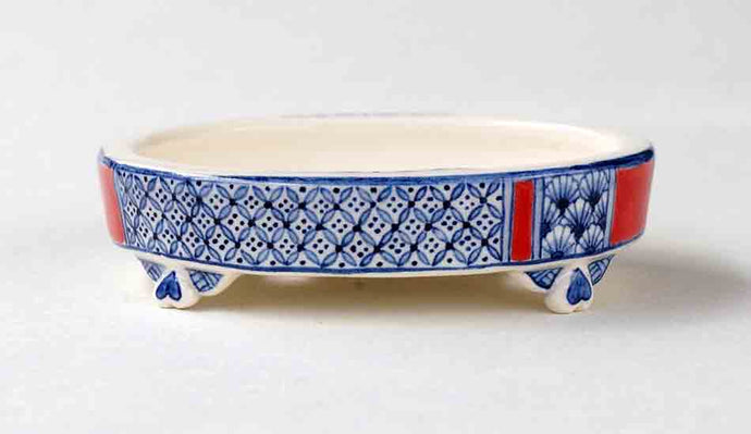 Bonsai Pot with Japanese pattern in Blue&Red by Mayu ++++ Shipping Free