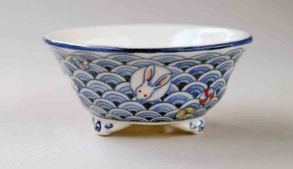 Bonsai Pot with Rabit & Blue Waves by Mayu