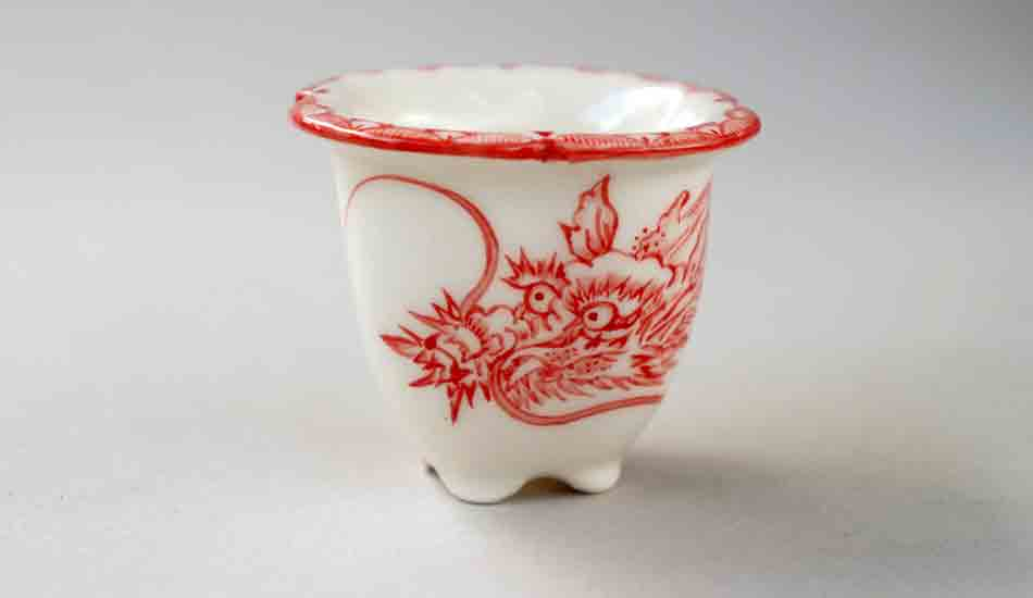 Bonsai Pot with Red Dragon by Mayu