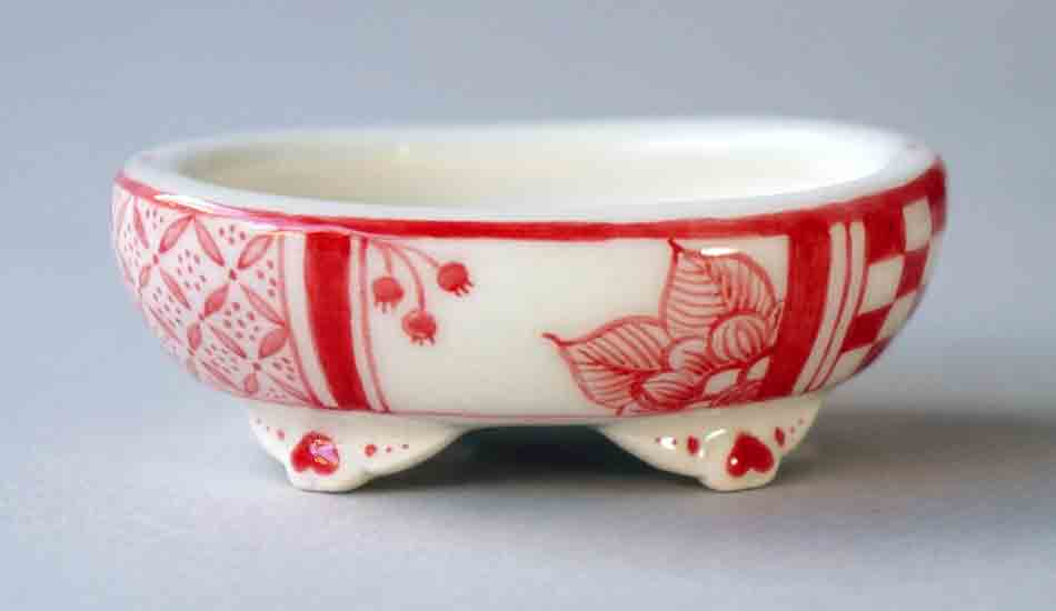 "Mayu Oval Bonsai Pot with the Red Flower & Butterfly 2.9""(7.4cm) ++Shipping Free!"