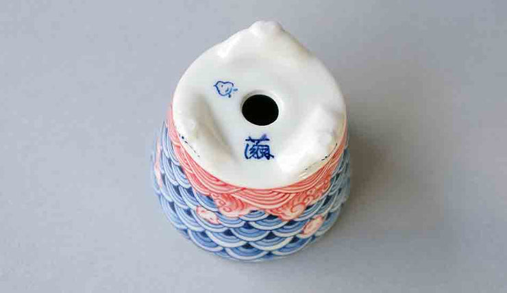 "Mayu Round Bonsai Pot with the Design of ""Chidori"" in the Sea 2.0""(5.3cm) ++ Shippng Free!"