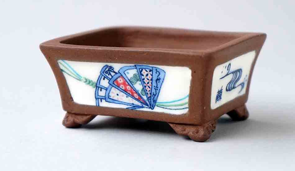 Fan & Butterlfly Rectangle Bonsai Pot by Eimei and Mayu