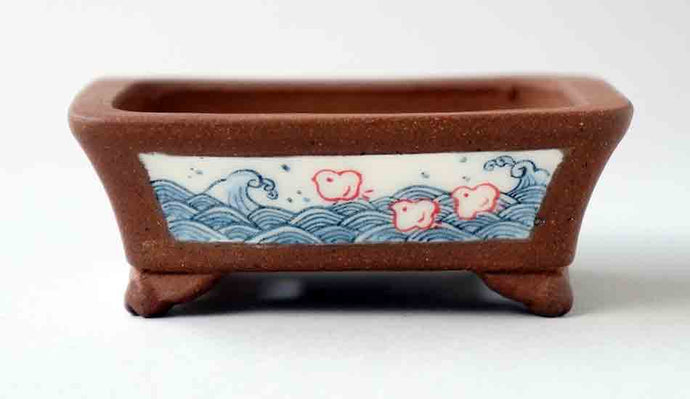 Chidori Over the Sea Bonsai Pot by Eimei and Mayu
