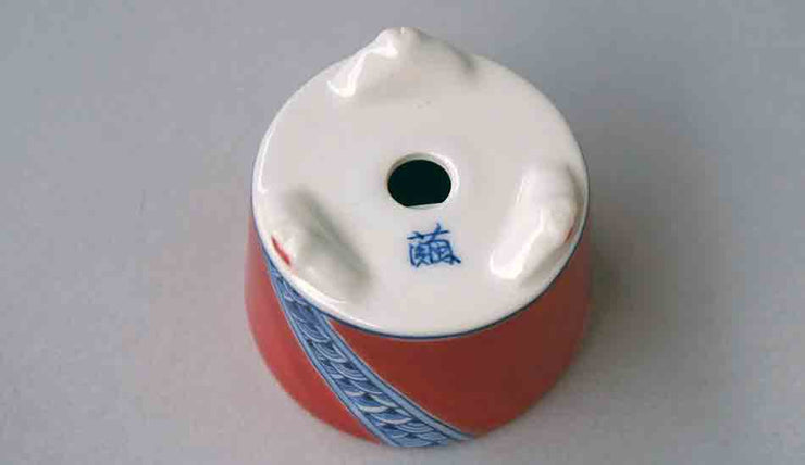 Mayu Round Bonsai Pot with Blue Patterns in Red