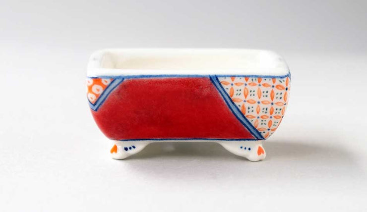 Mayu Red Rectangle Bonsai Pot with the Orange Patterns+++Shipping Free