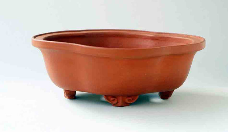 "Unglazed Mokko Shaped Bonsai Pot by Reifo 6.4""(16.5cm)+++Shipping Free"