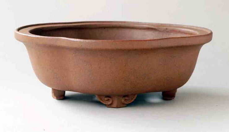 Unglazed Mokko Shaped Bonsai Pot in Beige by Reifo+++Shipping Free