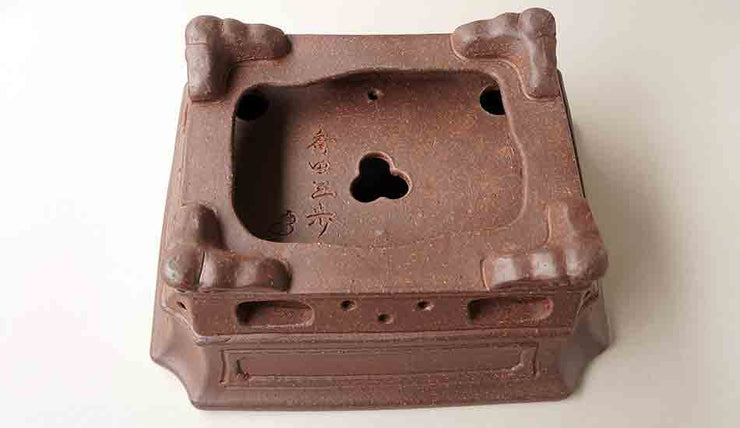 Sampo Rectangle Unglazed Bonsai Pot with decolated stand+++Shipping Free!