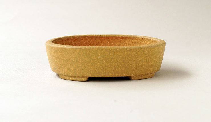 Yellow Unglazed Oval Bonsai Pot by Sampo+++Shipping Free 0001