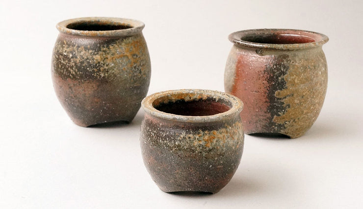 Set of 3 Wood-Fired Handmde Bonsai Pots +++Shipping Free!