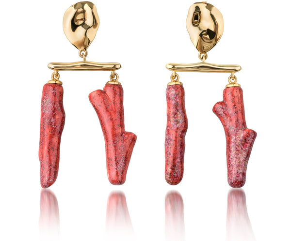 Lake double twig earring coral