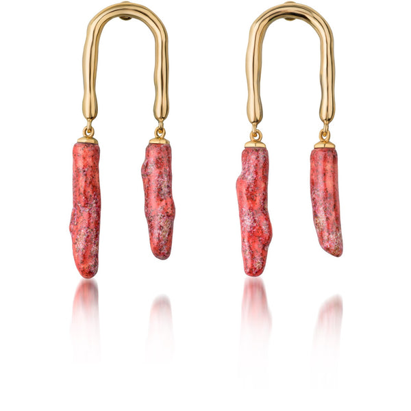 Horseshoe twig earring Coral