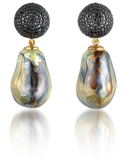 ALTER HALF MOON BALL EARRING