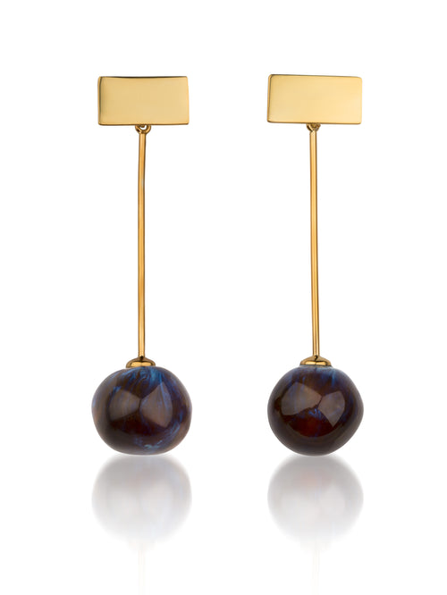 Plate earrings with hanging balls