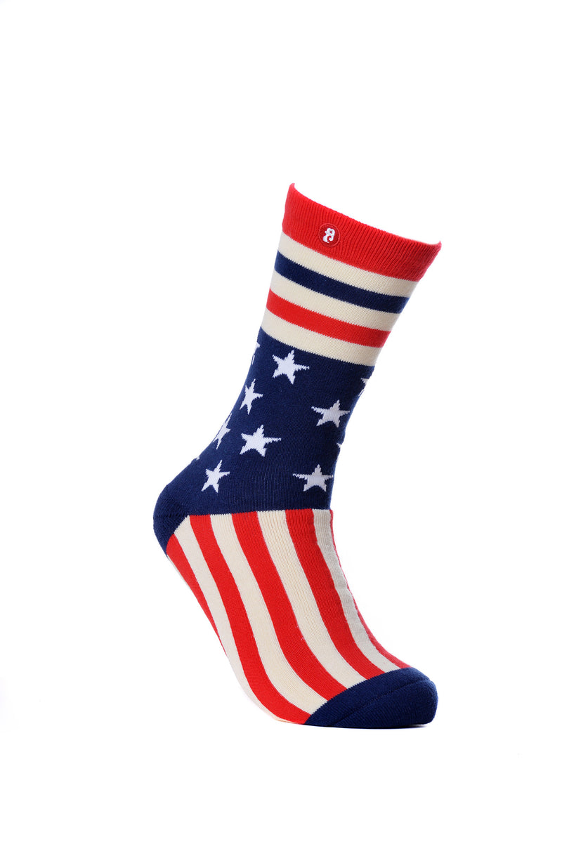 Mens Star Stripes Knitted Crew Socks Christmas Stockings