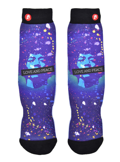 Mens Love And Peace Novelty Crew Socks