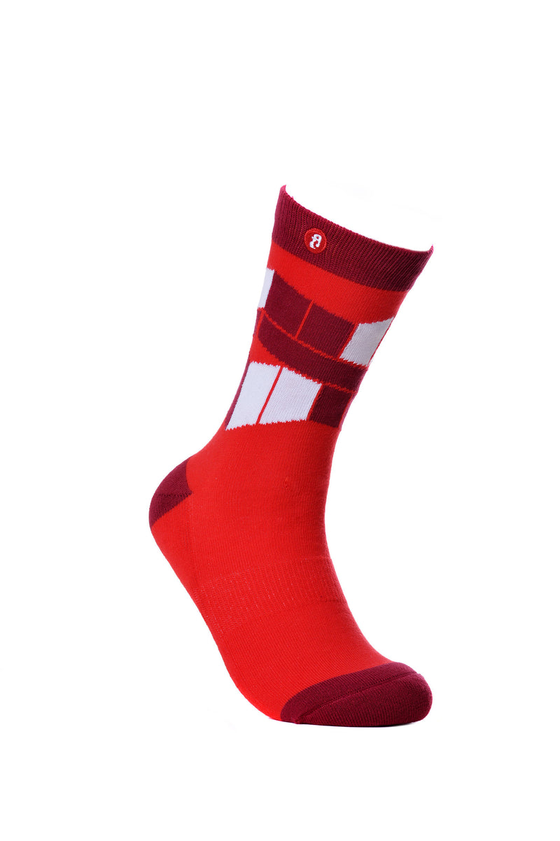 Mens The Flag. Red Knitted Crew Socks Fun Dress Socks - Fool's Day Fashion