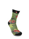 Mens Green Camouflage X Rose Novelty Crew Socks
