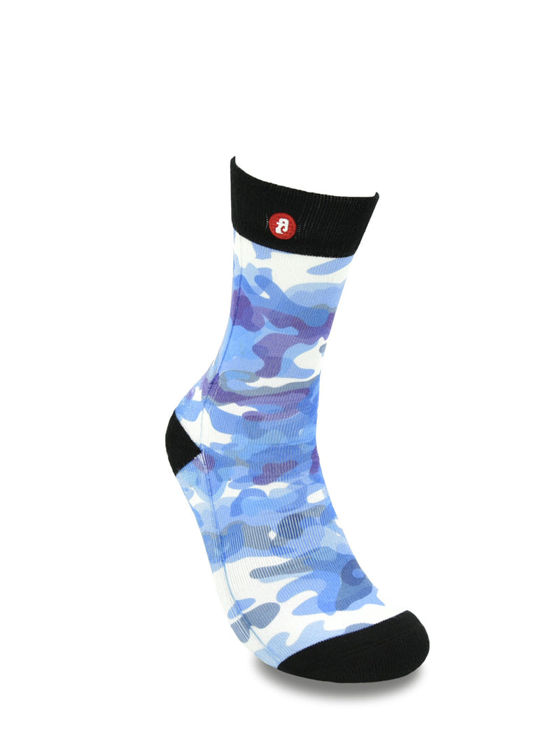 Men Abstract Blue Camouflage Crew socks