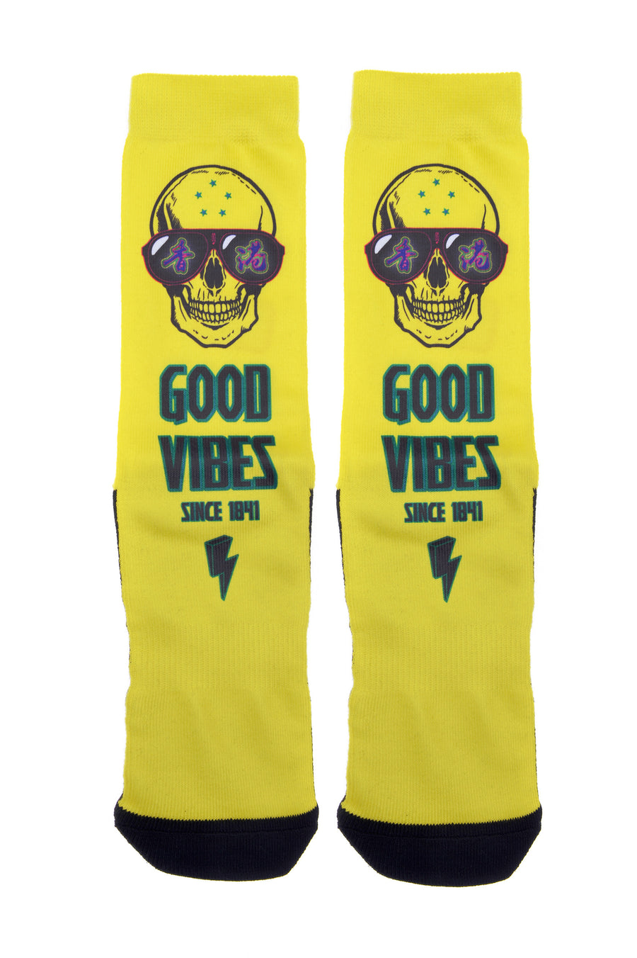 Mens Good Vibes Hong Kong Yellow Novelty Crew Socks