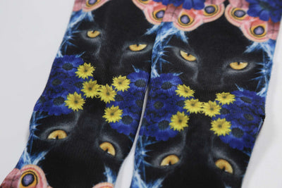 Men Black Cat Crew Novelty Funny Socks