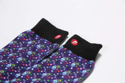 Mens Skull Dots Blue Novelty Crew Socks